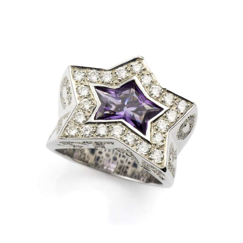 18k White Gold Amethyst and Diamond Rock Star Ring